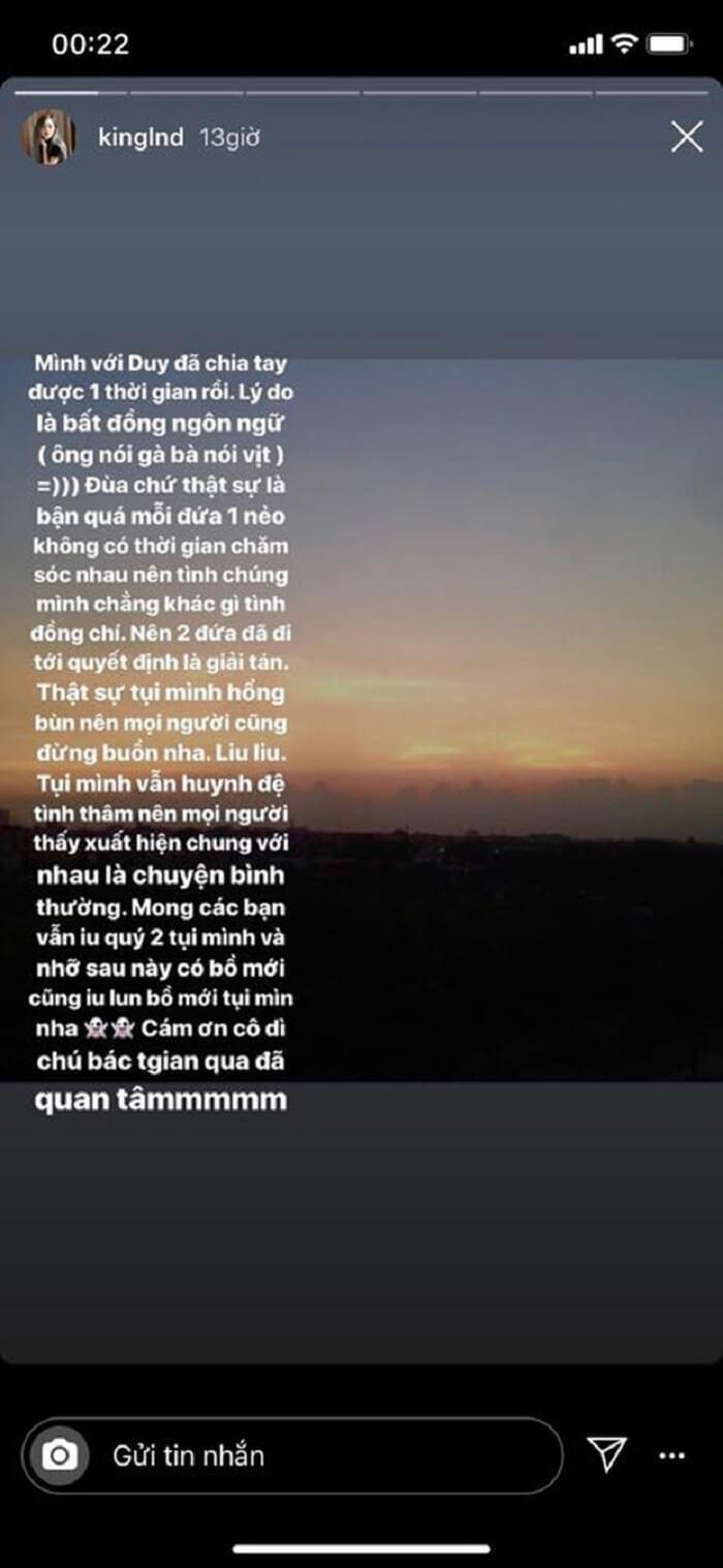 Lời nhắn gởi của LNĐ trên story Instagram của cô
